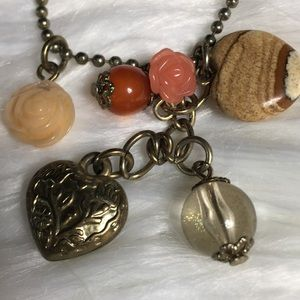 Heart & Rose Jewelry Flower Layered Charm Necklace